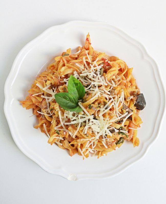 padlizsános-paradicsomos superfood tészta Jamie Oliver