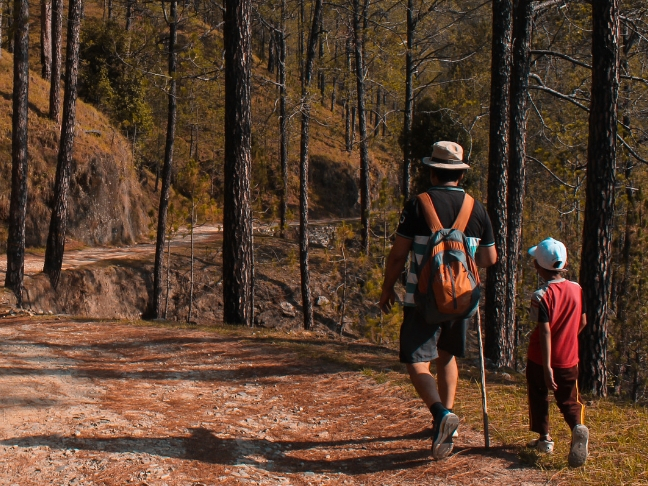 camping, hiking with kids
