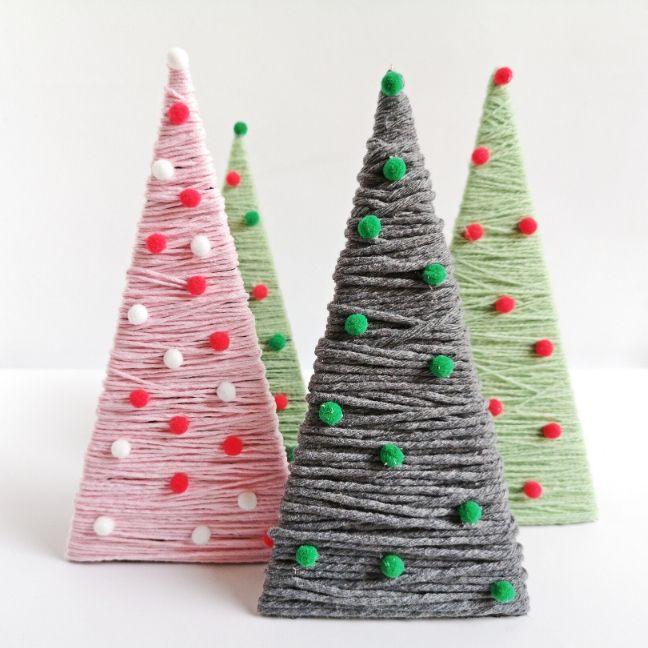 karton és fonal diy karácsonyi dekor