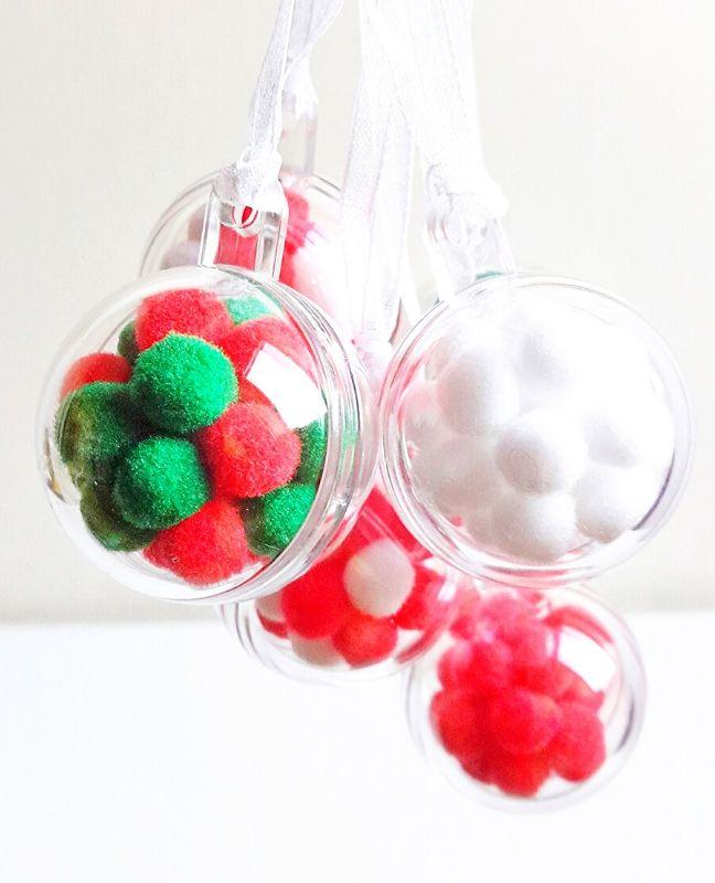 diy pomponos karácsonyi gömbdísz