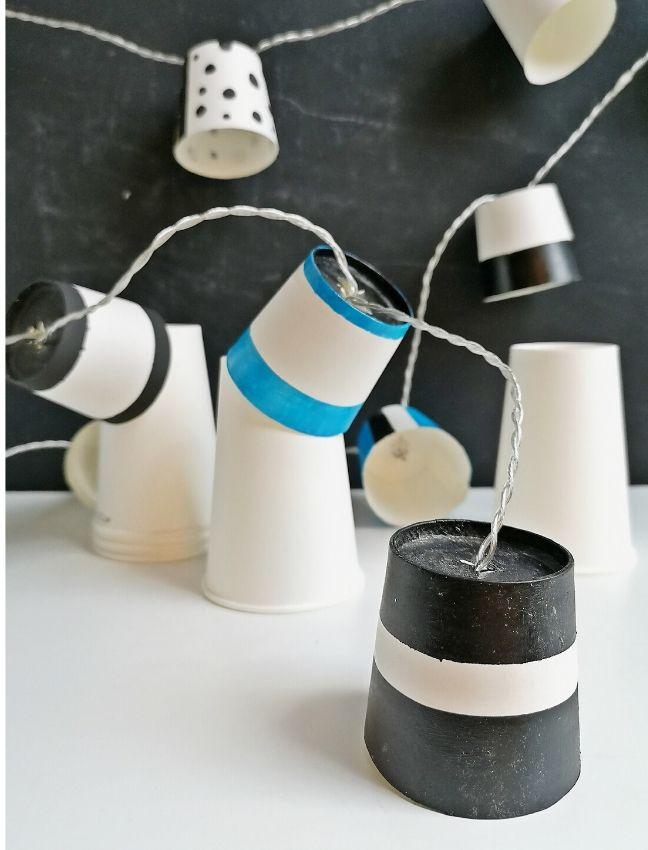 DIY fényfüzér papírpohárból