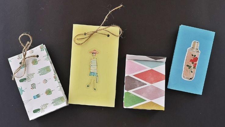 újrahasznosított DIY ajándéktáska papírlapból