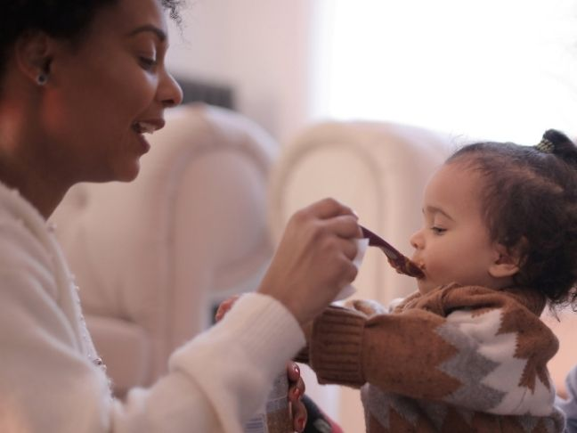 feeding a toddler