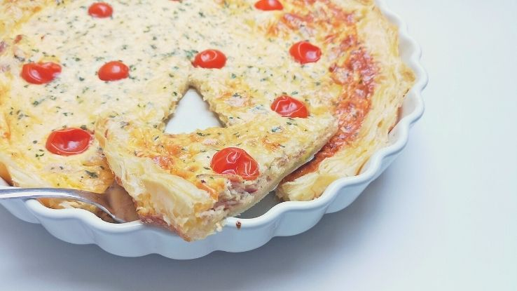 sonkás-medvehagymás quiche recept
